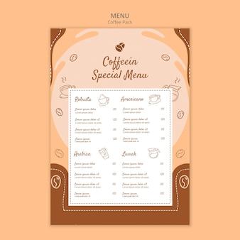 Szablon menu specjalnej paczki kawy coffeein