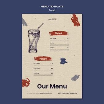 Szablon menu sprzedaży żywności