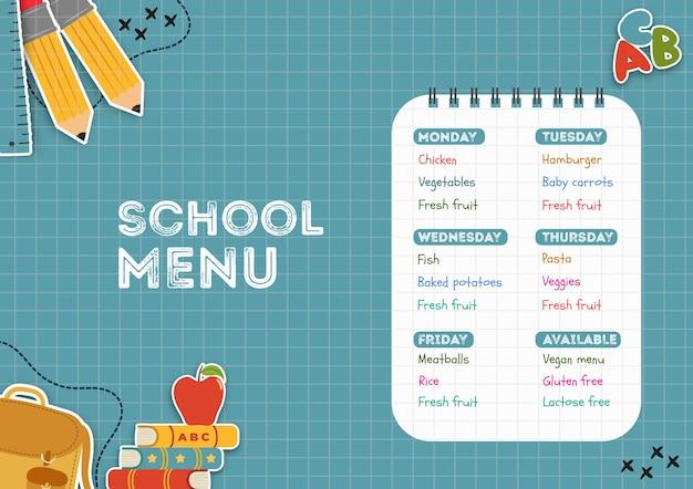 Szablon menu stołówki szkolnej