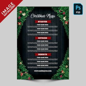 Szablon menu świąteczne z tyłu