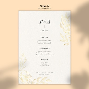 Szablon menu weselnego