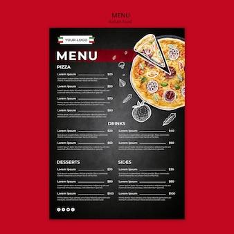 Szablon menu włoskie jedzenie
