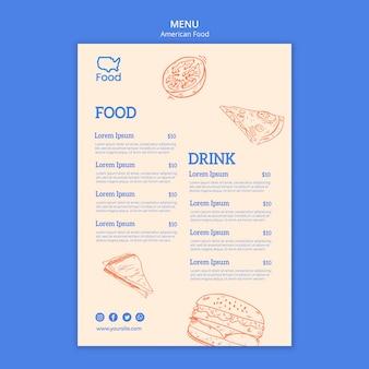 Szablon menu z amerykańskim jedzeniem