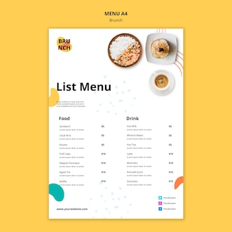 Szablon menu z koncepcją brunch