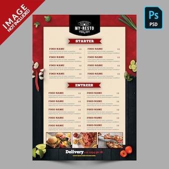 Szablon menu żywności