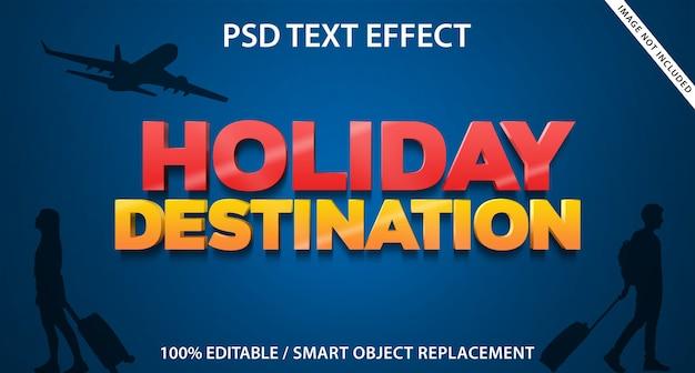 Szablon miejsca docelowego na wakacje z efektem tekstowym