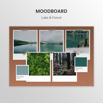 Szablon moodboard jeziora i lasu