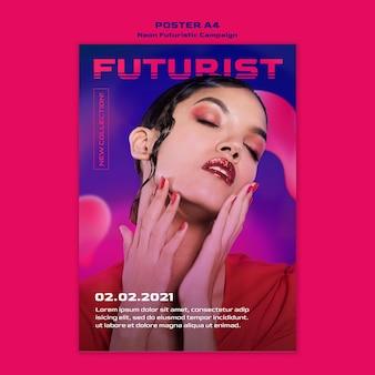 Szablon neonowego plakatu futurystyczny