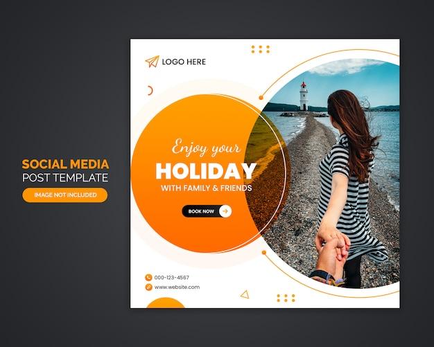 Szablon ogłoszenia mediów społecznościowych biura podróży