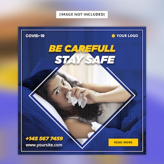 Szablon ogłoszenia w mediach społecznościowych coronavirus lub convid-19