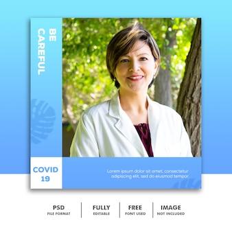 Szablon ogłoszenia w mediach społecznościowych instagram medical, bądź ostrożny blue doctor