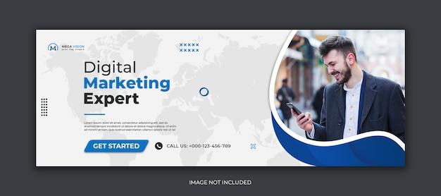 Szablon okładki facebook dla firmowych mediów społecznościowych marketingu cyfrowego