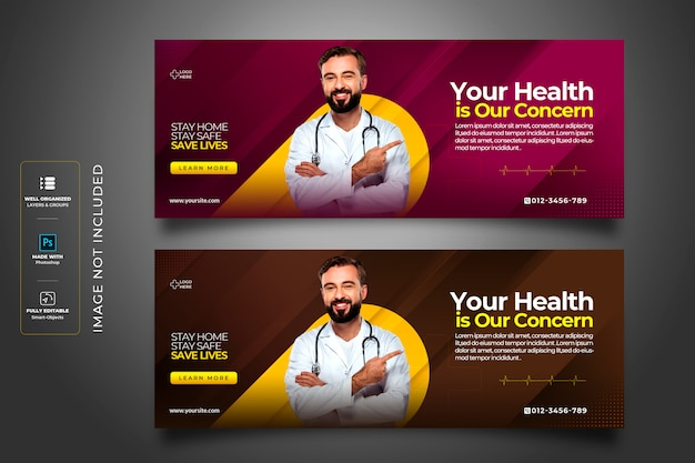 Szablon okładki facebook dotyczący koronawirusa lub convid-19 dla zdrowia medycznego