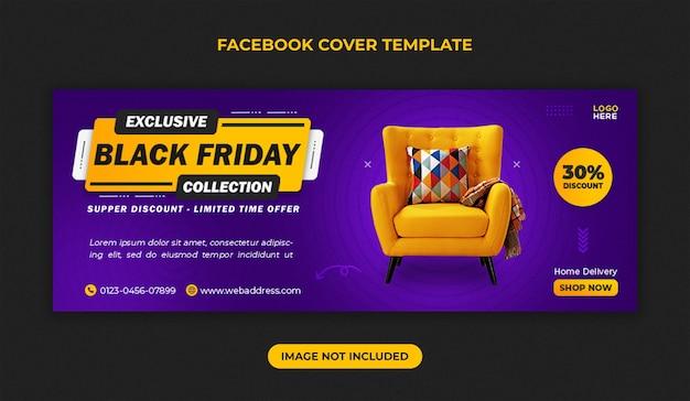 Szablon okładki facebook na sprzedaż mebli w czarny piątek