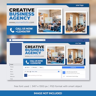 Szablon okładki facebook na temat agencji kreatywnych