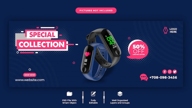 Szablon okładki facebooka sprzedaż inteligentnego zegarka