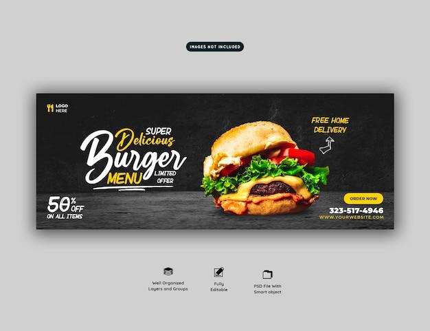 Szablon okładki mediów społecznościowych pysznego burgera i menu żywności
