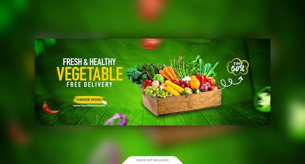 Szablon okładki mediów społecznościowych ze świeżymi i zdrowymi warzywami