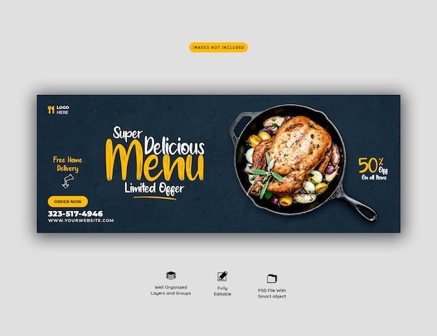 Szablon okładki menu żywności i restauracji mediów społecznościowych