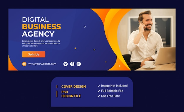 Szablon okładki na facebook promocji marketingowej agencji digital business agency