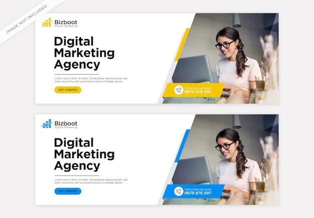 Szablon okładki na facebook promocji marketingu cyfrowego biznesu