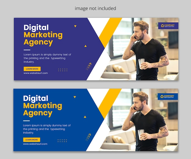 Szablon okładki na facebook promocji marketingu cyfrowego