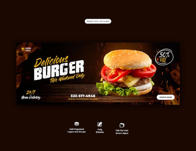 Szablon Okładki Na Facebooku Z Pysznym Burgerem I Jedzeniem Darmowe Psd