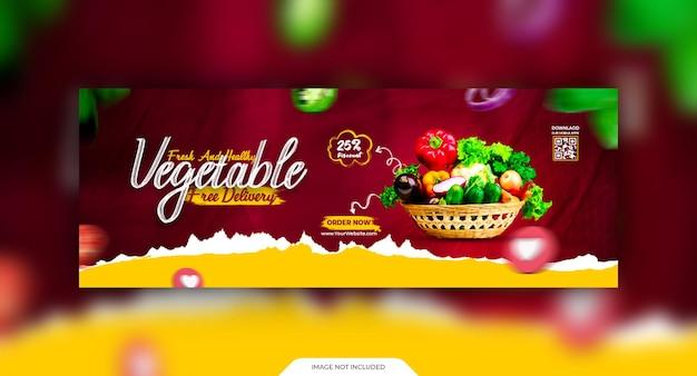 Szablon okładki postu z warzywami w mediach społecznościowych