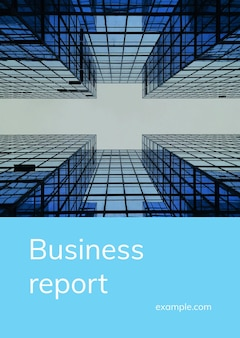 Szablon okładki raportu biznesowego psd z fotografią wysokiego budynku