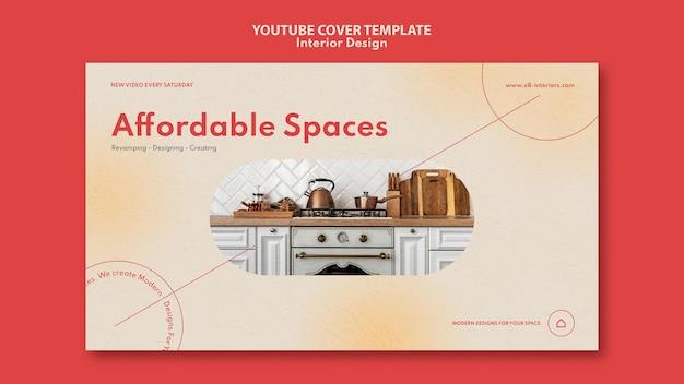 Szablon okładki youtube do projektowania wnętrz