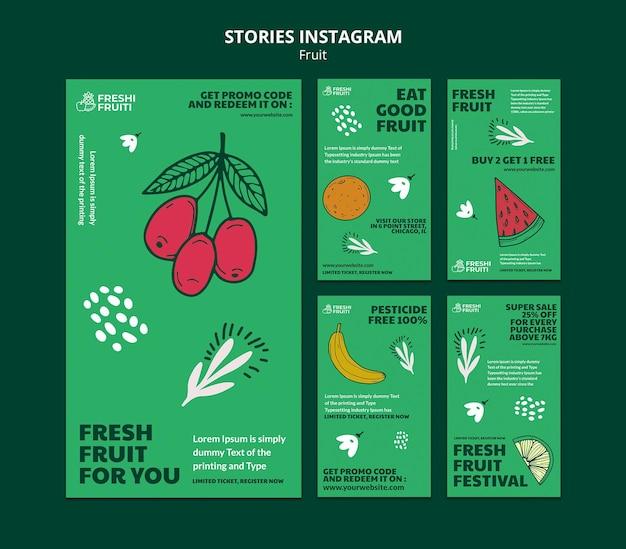 Szablon opowiadań instagram festiwal owoców