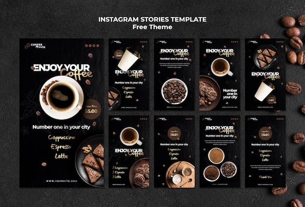 Szablon opowiadań instagram koncepcja kawy