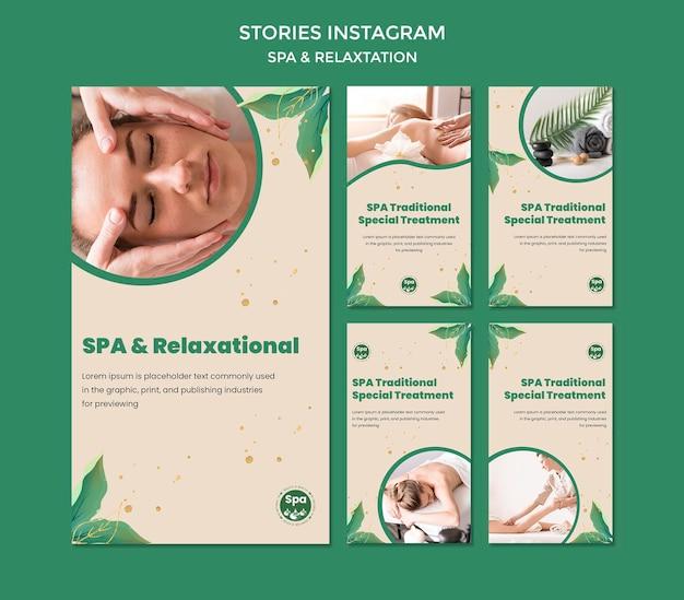Szablon opowiadań instagram koncepcja spa