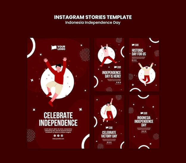 Szablon opowiadań instagram na dzień niepodległości indonezji