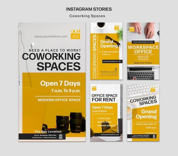 Szablon opowiadań instagram w przestrzeni biurowej