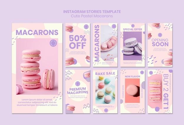 Szablon opowiadań macarons na instagramie