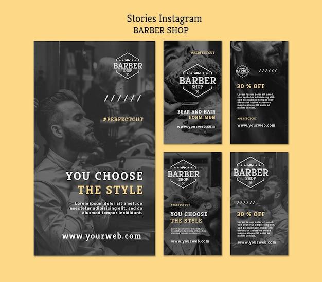Szablon opowiadań na instagramie dla fryzjera