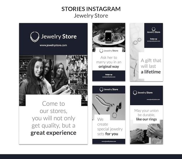Szablon opowiadań na instagramie koncepcja biżuterii