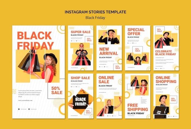 Szablon opowiadań na instagramie w czarny piątek