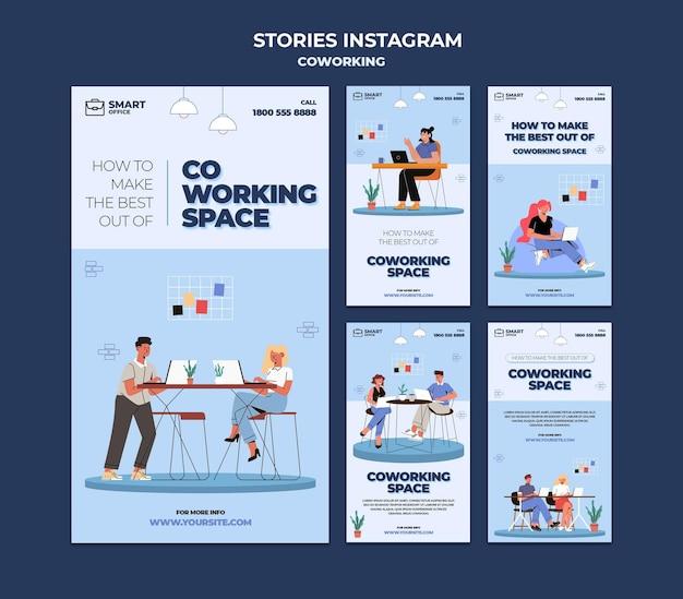 Szablon opowiadań na instagramie w przestrzeni coworkingowej