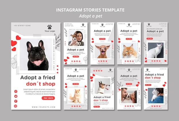 Szablon opowiadań na instagramie z adoptowanym zwierzakiem