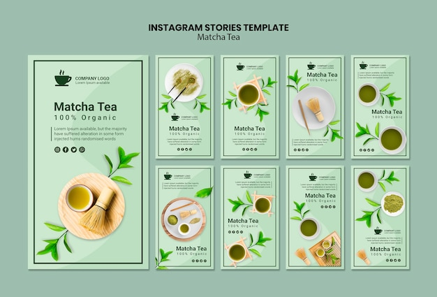 Szablon opowiadań na instagramie z herbatą matcha