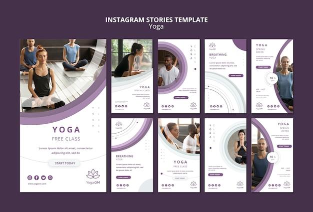 Szablon opowiadań na instagramie z jogą