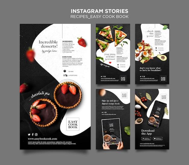 Szablon opowiadań na instagramie z książką kucharską