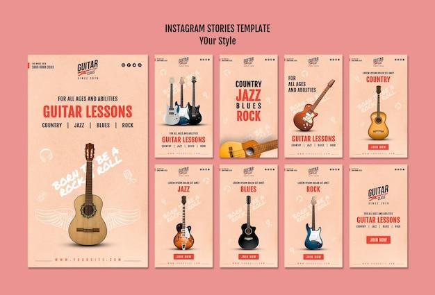 Szablon opowiadań na instagramie z lekcjami gitary