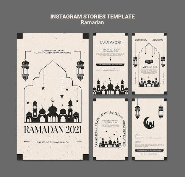 Szablon opowiadań na instagramie z okazji ramadanu