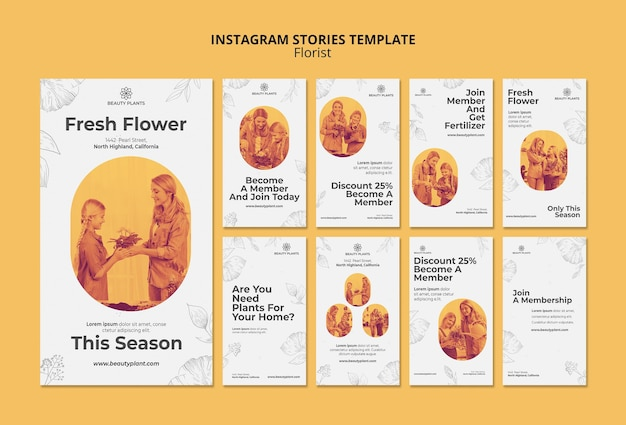 Szablon opowiadań na instagramie z reklamą kwiaciarni