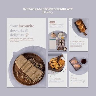 Szablon opowiadań na instagramie z reklamą piekarni