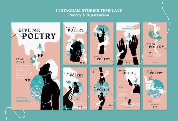 Szablon opowiadań na instagramie z reklamą poezji