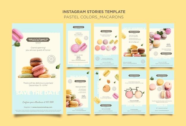 Szablon opowiadań na instagramie z reklamą sklepową macarons